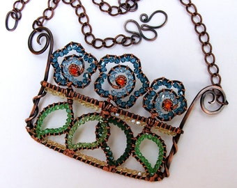 Crystal Flower Box Copper Statement Necklace Jeweled Wall Art