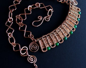 Inca - HandWoven Copper and Jade Set