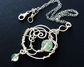 ENTWINED  Bright Sterling, Prehnite, Quartz Seafoam Green Gemstone Pendant Necklace