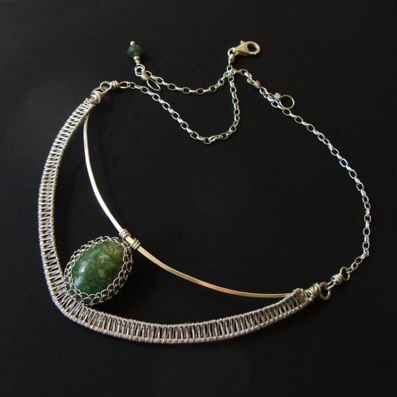 Sterling Silver & Green Gemstone Collar Hammered Netted Statement
