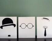 Silent Trio- Charlie Chaplin, Buster Keaton, Harold Lloyd 8x10 Original Screenprint Set