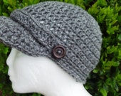 Crochet Newsboy Grey Hat
