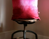 Hot Pink over Red  Hand Dyed Linen Pillow Cover