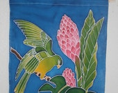 20% OFF Parrot Tropical Silk Painting Wall Hanging