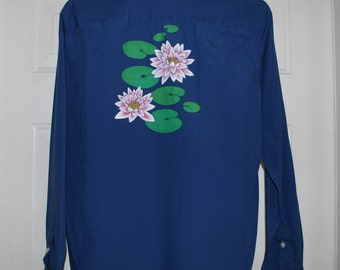 20% OFF Hand Painted Water Lilies Upcycled Blue Women's Shirt Sz S