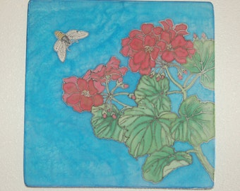 20% OFF Begonia and Bee Silk Painting