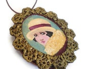 Vintage lady fabric cameo pendant, miniature painting, ooak pendant, wearable art jewelry