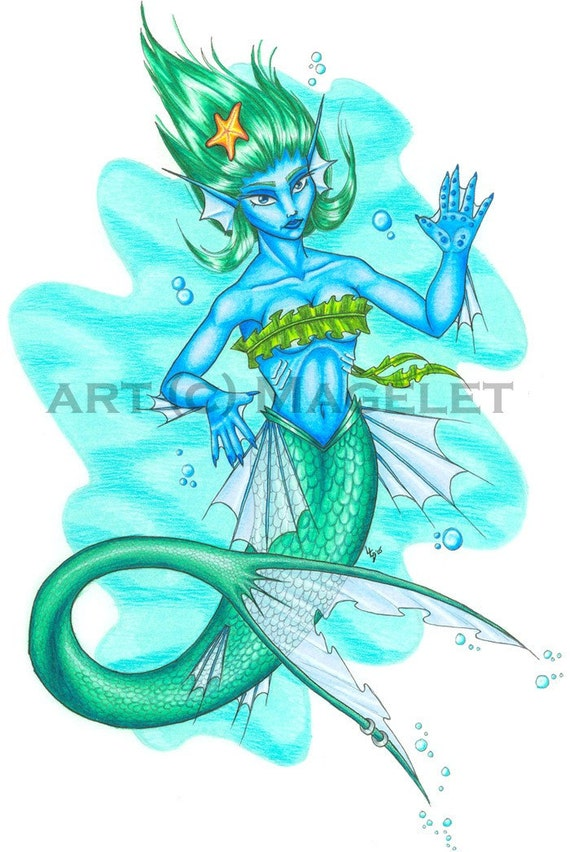 Blue Mermaid Original Art Piece