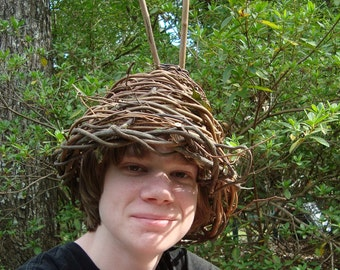 Spiked Helmet Forest Gnome's Fantasy Basket Weave Hat Handwoven of Twigs and Grapevine OOAK Halloween Costume