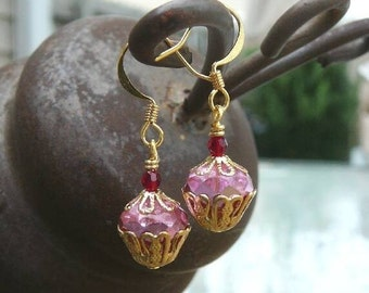 Pink Cupcake Earrings - Sparkling Strawberry Czech Glass, Crystal, Cupcakes in Gold