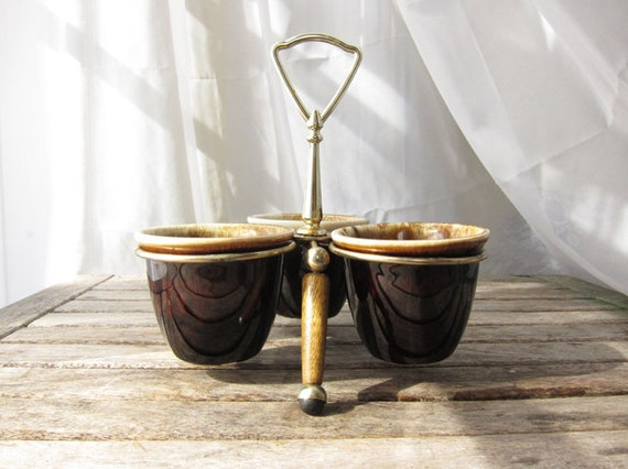 Vintage Ceramic and Wood 3-Dish Relish Server - Chocolate Brown Rustic Decor
