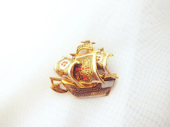 Gold and Red Ship Brooch Vintage