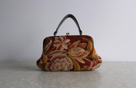 Vintage Embroidered Purse . Made in France . Floral Print  . 1950s . Boho Carpet Bag