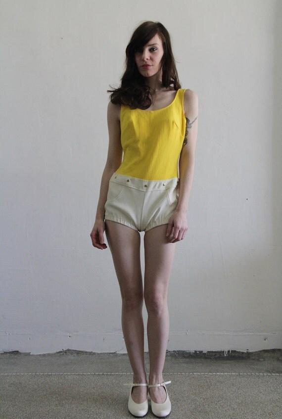 Vintage Swimsuit . I've Got Hot Pants . Sunshine Yellow Swim Wear . 1970s . Barbarella . NOS