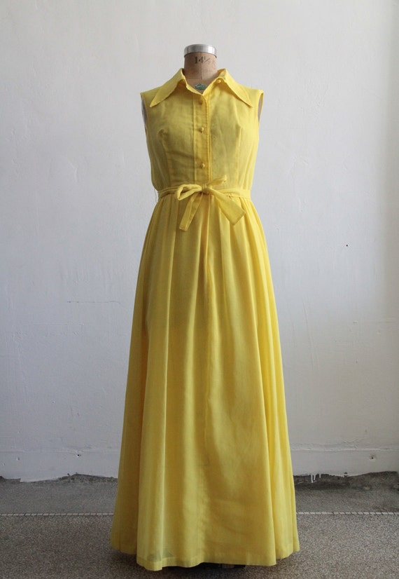 RESERVED . 1960s Maxi Dress . Sundress . Summer . Sunshine Yellow . Cotton . Shirtwaist . Boho