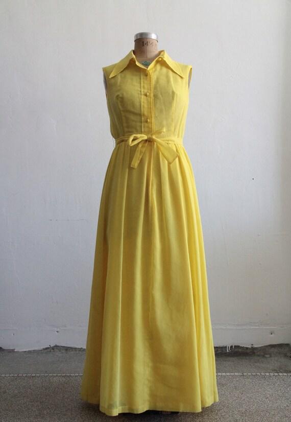 RESERVED . 1960s Maxi Dress . Sundress . Summer . Sunshine Yellow . Cotton . Shirtwaist . Boho