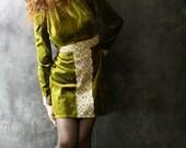 Vintage 1960s Dress Olive Jewel Victorian Velvet and Lace Holiday Dress