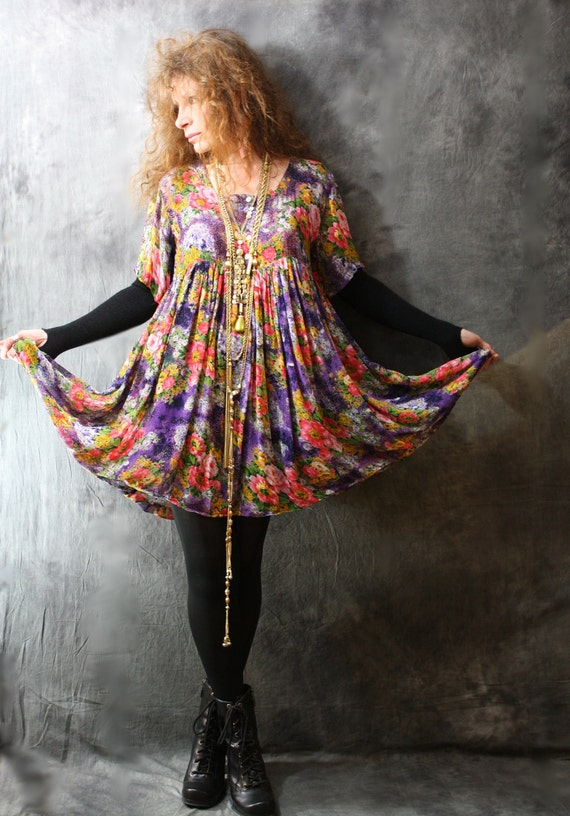 RESERVED for Michelle Please do not purchase Vintage 80s Bohemian Gypsy Rose Hippie India Baby Doll Dress Big Sweep Skirt