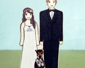 Custom Wedding Cake Toppers with One Pet  All Connected Together