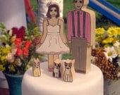 Custom Wedding Cake Topper couple with Three Pets