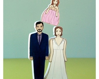 Custom Family Wedding Cake Toppers-Two Adults, One Child