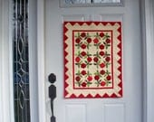 WELCOME WREATHS, 21 X 28 inch handmade quilted wallhanging