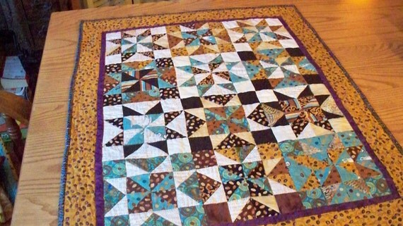 QUILT, JAVA STARS, 23 X 29 handmade modern Sawtooth star quilt