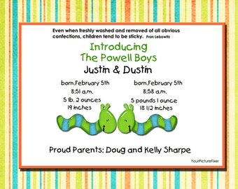 Playful Twins Birth Announcement