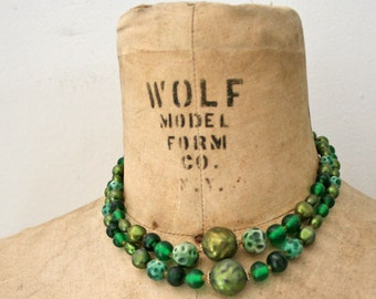 vintage 50s Double Strand Forest  Nymph Textured Beaded Necklace