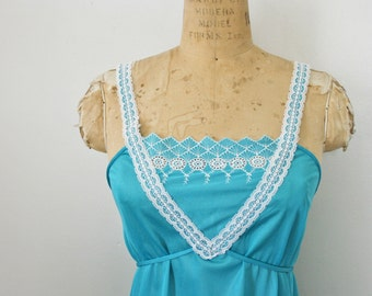 vintage 70s Ocean Blue Floral Empire Waist Nightgown