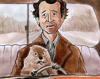 "Bill Murray as Phil Connors in ""Groundhog Day"" watercolor - 5""x7"" Postcard  or 8""x10"" print"
