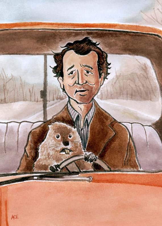 groundhog day bill murray fan art etsy andyrama