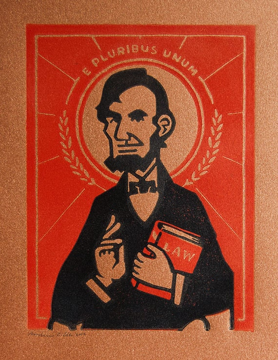Abraham Lincoln Lino Block Print -  Inspired by Byzantine Christian Icons