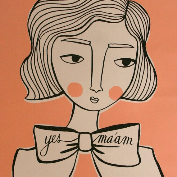 screenprinted poster: girl with bow