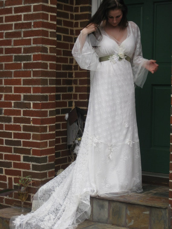 Ethereal Lace Bohemian Wedding Gown Reserved for Carrie