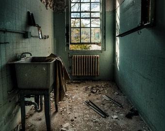 Abandoned Asylum Janitors Closet Urban Exploration Print, Color Photography, Green Teal Signed Free Shipping
