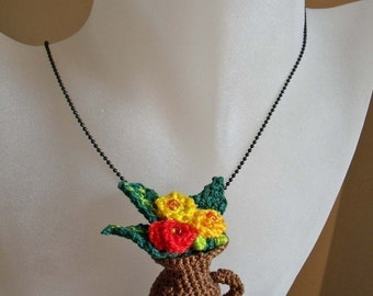 Crochet vase  and picher and flowers pendant necklace ornament PDF Pattern No 7