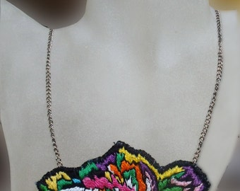 Hand embroidered necklace All colors in