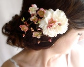 twiggy ivory hair accessory - ETOLIA - pink cherry blossom hair clip for wedding, bridal event