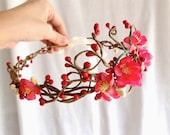 red / pink cherry blossom hair circlet - GALWAY GIRL -  flower girl accessory, bridal head wreath