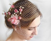 wedding birdcage veil - CUPIDS KISS - a bridal bandeau in many colors