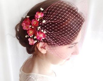 pink birdcage veil, pink bridal veil, hot pink net veiling,  pinup hair, bridal birdcage veil, hot pink, VEIL ONLY