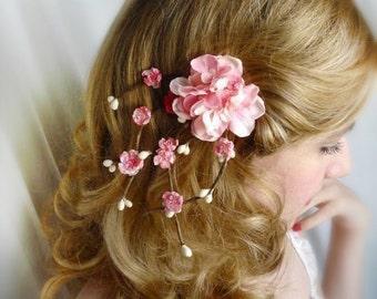cherry blossom hair accessories, pink flower hair clip, bridal hair piece, wedding headpiece, bridesmaid hair clip - SAKURA BRANCH