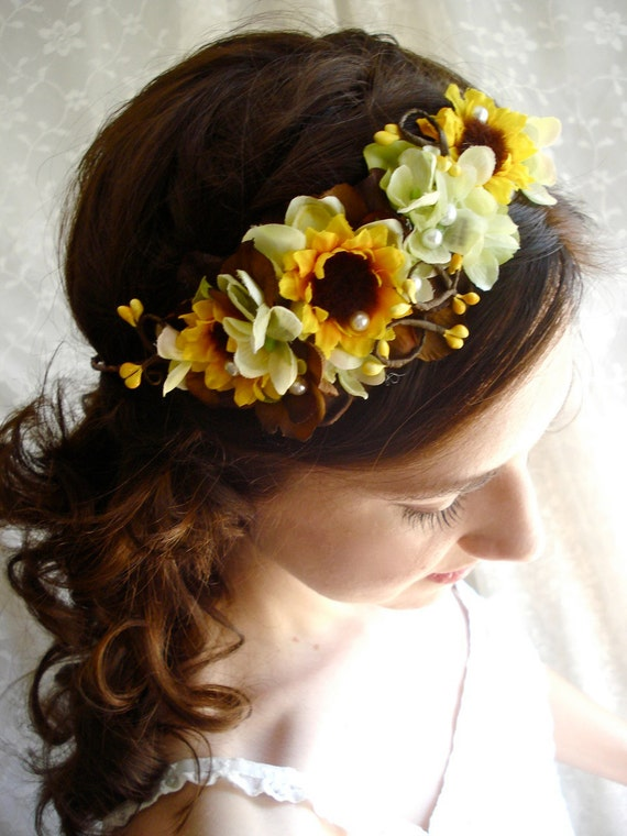sunflower autumn head wreath - CHARMED- a fall wedding, bridal, flower girl crown