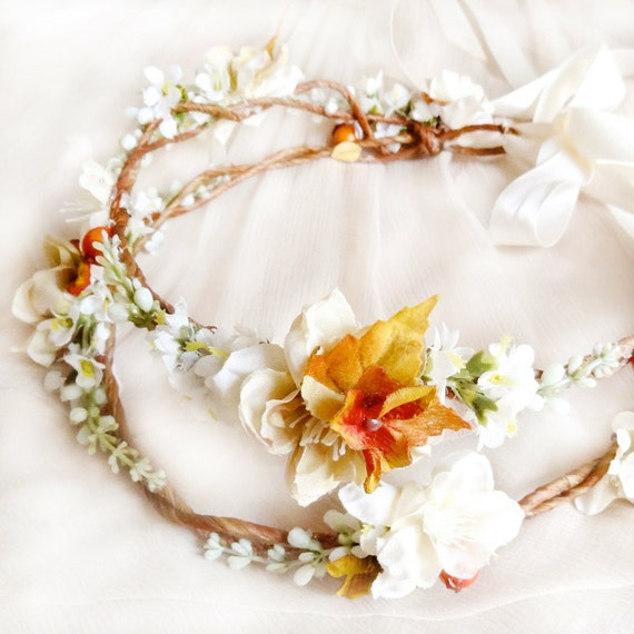 Fall Wedding Hairstyles With Flower Crown: Fall Floral Crown Bridal Headpiece Autumn Wedding By
