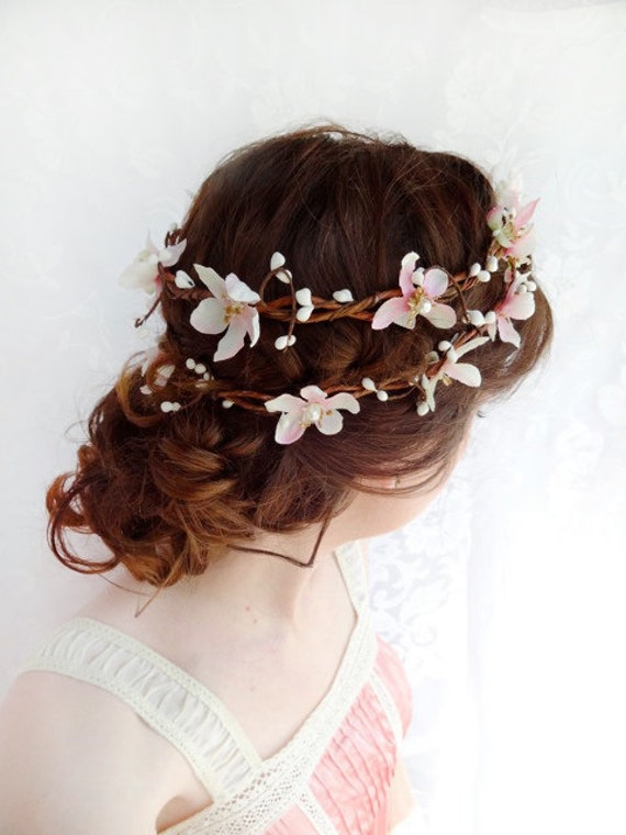 pink flower hair wreath - SUGAR FROST - cherry blossom bridal accessory / flower girl headband