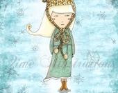 Kitchen print - Teen Wall art Print - White Tea Girl children bedding 6 x 8 print tea lover knit winter teal aqua blue