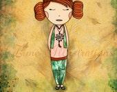 Art for Kitchen - Tea Lover - Green Tea Girl Autumn fall nature dream catcher children bedding 11 x 8 print