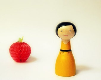 Custom Art Doll - OOAK - Personalized - Wooden art doll hand painted yellow dress red apple Asian girl black hair black bow