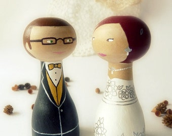 FREE SHIPPING Personalized wedding cake topper Wooden peg doll art hand painted bride groom glasses